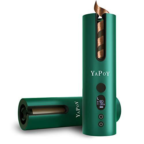 YAPOY Rizador Pelo Automático Planchas Rizadoras con Batería Recargable de 5200 mAh Pantalla LCD y Calentamiento Rápido 5 tipos de...