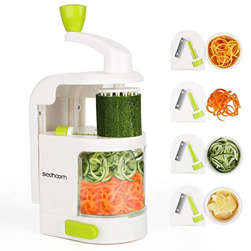 Espiralizador vegetal Sedhoom Cortador de Verduras MultiFunción de Alimentos 4 Cuchillas, Espiralizador de Picar Frutas, Verduras,...