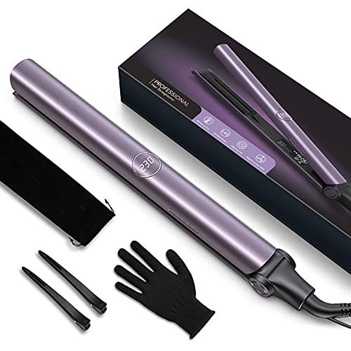 Plancha de Pelo Profesional, plancha de Pelo Iónico con Placa de Titanio, Plancha y Rizador 2 en 1 con Dual Voltaje y Ajustable...
