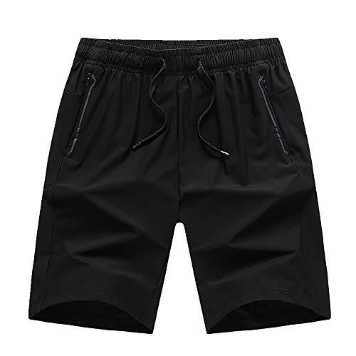 U/A Pantalones cortos informales para hombre, delgados, de cinco puntos, pantalones de playa para hombre Negro Negro ( 5X-Large