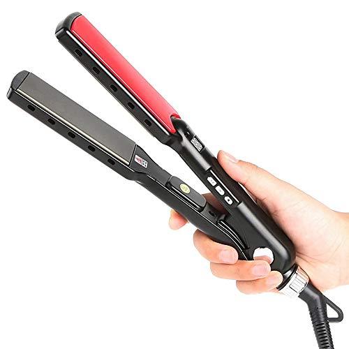 Pro alisador de pelo, crepes de cerámica, 3 en 1 reemplazable multifunción alisador de pelo y rizador con pantalla LED/control de...