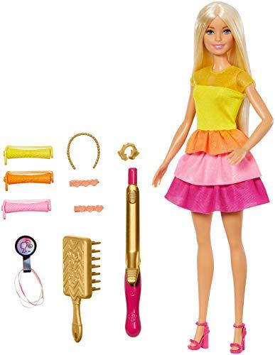 Barbie Crea sus ondas, Muñeca rubia con accesorios para peinar, regalo para niñas y niños 3-9 años (Mattel GBK24)