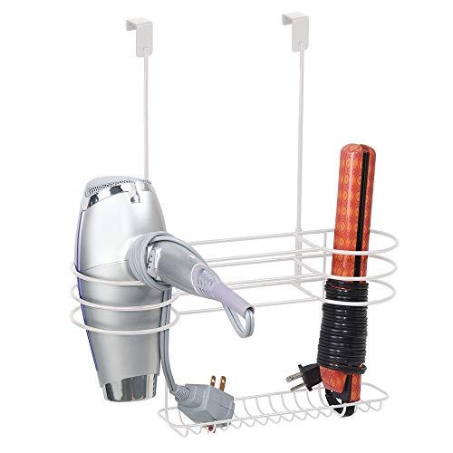 mDesign Soporte para secador de Pelo sin Taladro – Colgador para Puerta con Tres Compartimentos para el secador del Pelo – Organizador...