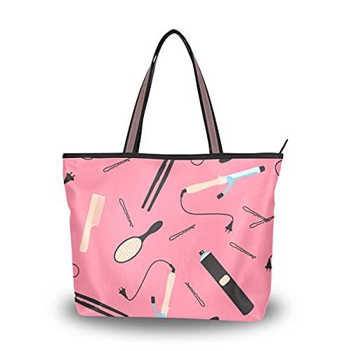 Bolso de hombro de mujer de dibujos animados lindo moda chica rizador de pelo de oficina bolso de mano grande bolso de mujer con cremallera...