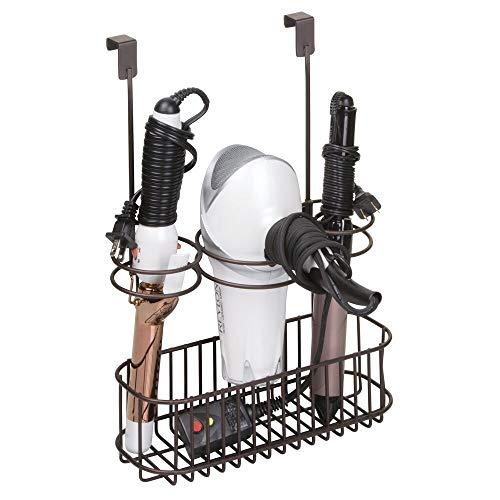 mDesign Soporte para secador - Cesta colgante, sin taladrar - Organizador para baño de productos de peluqueria – Elegante soporte para...