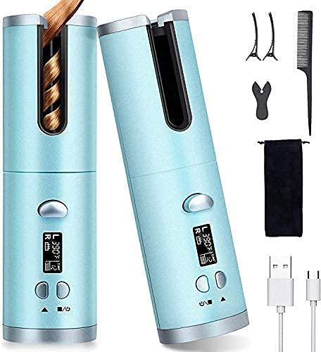 Rizador 40w de Pelo automático inalámbrico Rizador de Cabello Automático con 6 configuraciones de temperatura y tiempo Pantalla LCD,...