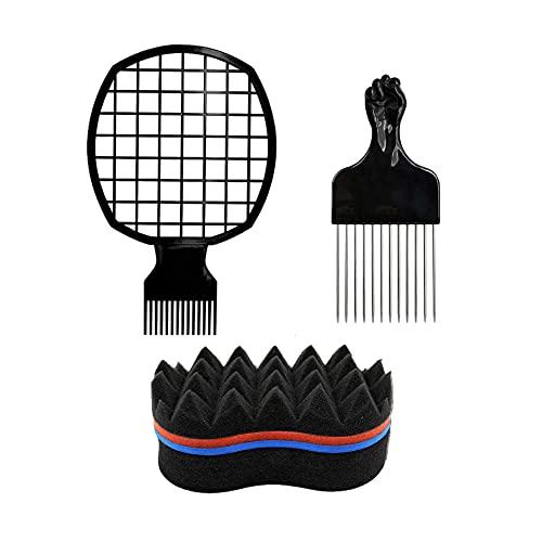 Dzsomt Peine Pelo Rizado 3 Piezas Peine para Pelo Afro Esponja Rizos Afro Pelo Colorear Cepillo Peine Afro de Acero Inoxidable para Pelo...