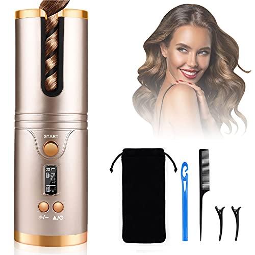 Nityrliv - Rizador de pelo, rizador automático sin cable, rizador sedoso de calentamiento rápido, rizador automático inalámbrico con...
