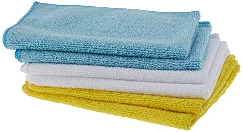AmazonBasics - Bayeta de microfibra (6 unidades), color blanco, azul y amarillo