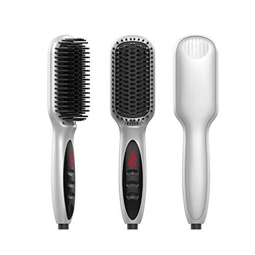 Cepillo para alisado de cabello Cepillo alisador iónico 2 en 1 Hierro Peine anti escaldado Función de bloqueo automático de temperatura y...