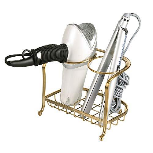 mDesign Soporte para secador de pelo o rizador – Soporte para plancha de pelo, secador, cepillos y otros productos de peluquería –...