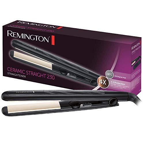 Remington Ceramic Slim S3500 - Plancha de Pelo, Cerámica Anti- estática, Protección y Brillo, Placas Extra Largas, Negro