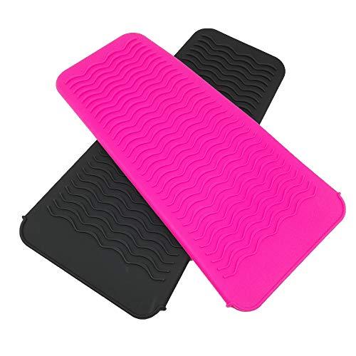 Paquete de 2 alfombrillas de silicona portátiles para peinar, resistente al calor, funda para almohadilla para rizar, alisador de pelo,...