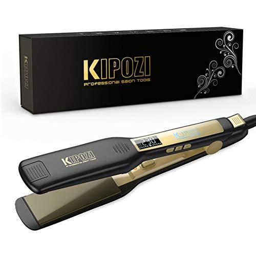 KIPOZI Plancha de Pelo Profesional, placa ancha de titanio con pantalla digital Lcd, adecuada para todo tipo de cabello, doble voltaje...