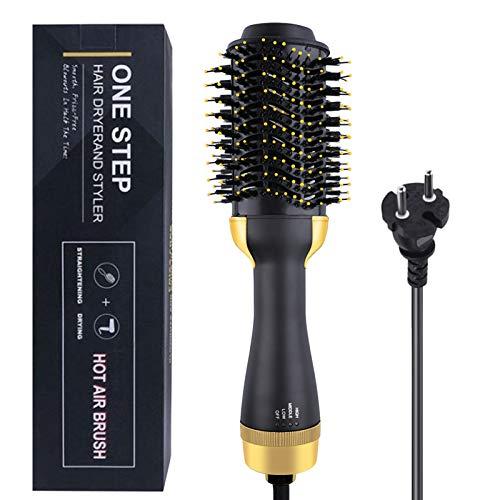 Cepillo secador de pelo, 3 en 1 secador de pelo de iones negativos portátil cepillo de aire caliente plancha de pelo rizador, cabeza de...