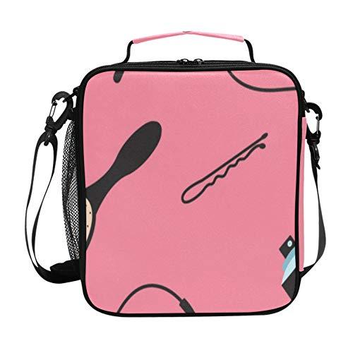 Bolsa de almuerzo con correa para el hombro para mujeres Dibujos animados Cute Fashion Girl Rizador de pelo Bolsas de almuerzo de viaje con...