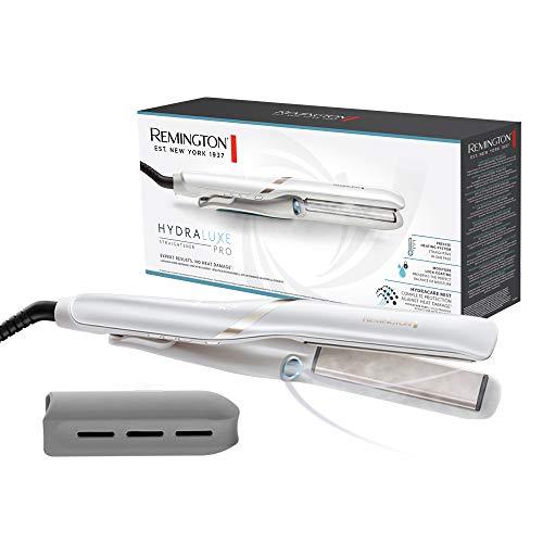 Remington Hydraluxe Pro Plancha de Pelo - Tecnología Hydracare, Cerámica, Resultados Profesionales, Placas Flotantes, Blanco - S9001