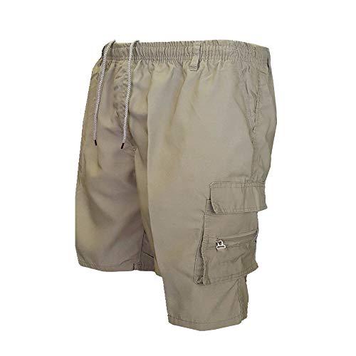 U/A Pantalones cortos sueltos para hombre con múltiples bolsillos Verde caqui 46