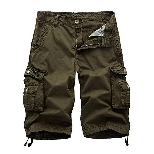 U/A pantalones cortos de herramientas para hombre, pantalones cortos de playa, sueltos Verde verde 40