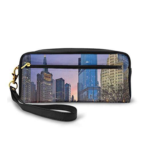 Estuche pequeño de piel sintética de EE.UU., Chicago Cityscape con ríos puente y rascacielos imagen Cosmopolitan City, bolsa de...