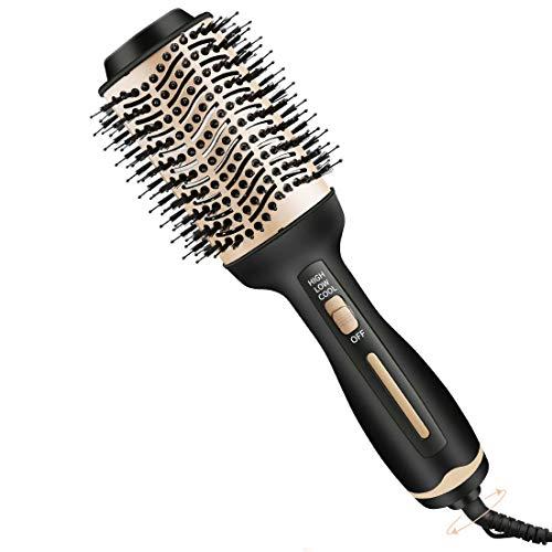 SutMsh secador de pelo cepillo-secador de pelo y dispositivo de peinado 4 en 1 plancha de pelo y rizador peine de aire caliente, cepillo...