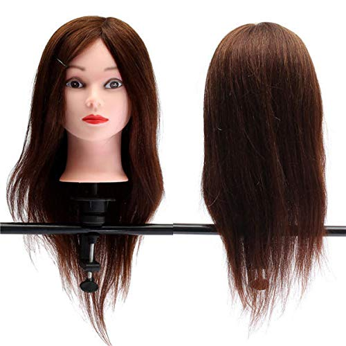 feichang Hair Care & Tools 20' Profesional de pelo real modelo de peluquería práctica de entrenamiento de cabeza maniquí y abrazadera