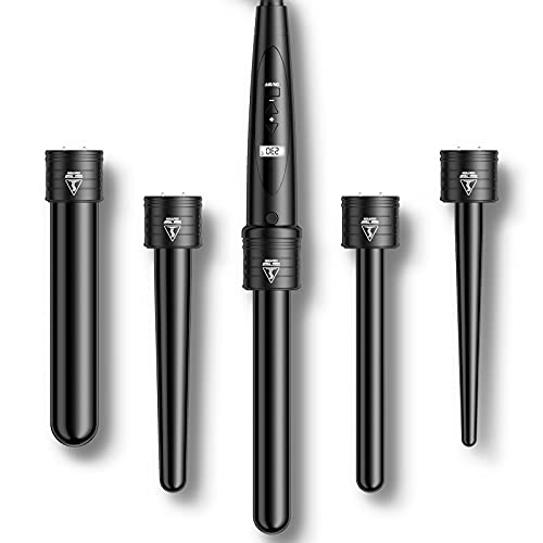 Rizador Pelo Planchas Rizadoras Profesional Pantalla LCD Tenacillas Temperatura Ajustable Ceramica Muitifunción 5 en 1 con Barras...
