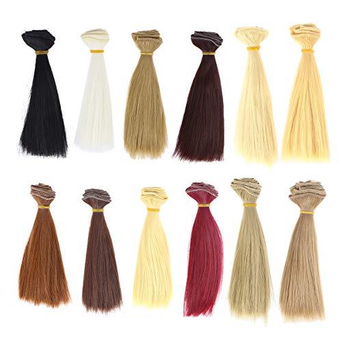 Artibetter 12 extensiones de pelo sintético resistente al calor largo recto extensiones de cabello para hacer muñecas y manualidades, 100...