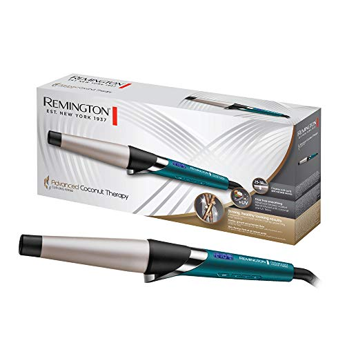 Remington Advanced Coconut Therapy - Rizador de pelo, Barril de 25-38 mm, Cerámica, Digital, Hasta 210 °C, Azul, CI86X8
