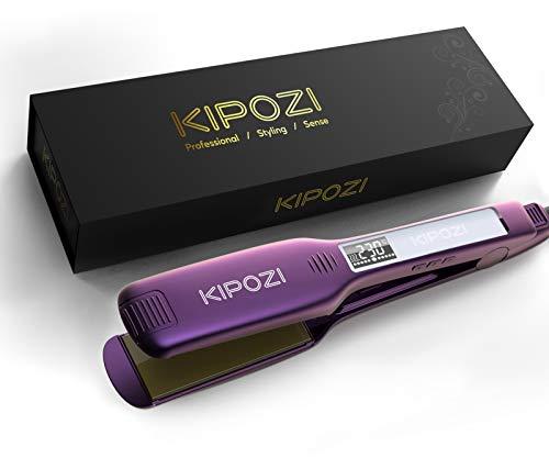 KIPOZI Planchas del Pelo Profesionales con Placa Ancha de Titanio y Pantalla Digital Lcd, Adecuada para Todo Tipo de Cabello, Doble Voltaje...
