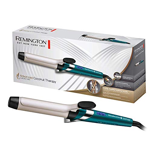 Remington Advanced Coconut Therapy - Rizador de pelo, Barril de 32 mm con pinza, Cerámica, Digital, Hasta 210 °C, Azul, CI8648