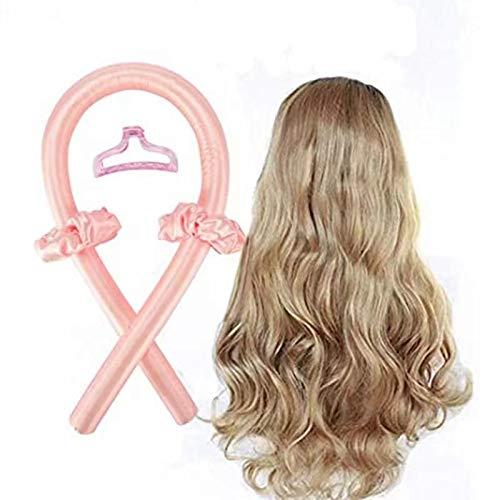 Rizadores de pelo de cinta de seda para mujeres y niñas, sin calor, rizador con cinta de pelo (rosa)
