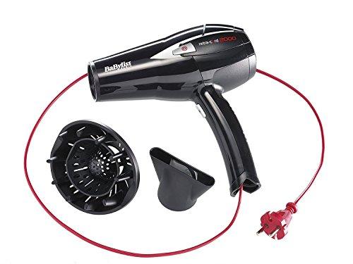BaByliss D372E – Secador de pelo retráctil, 2000 W - 230V, 6 temperaturas, botón aire frío, con difusor y concentrador, cable...