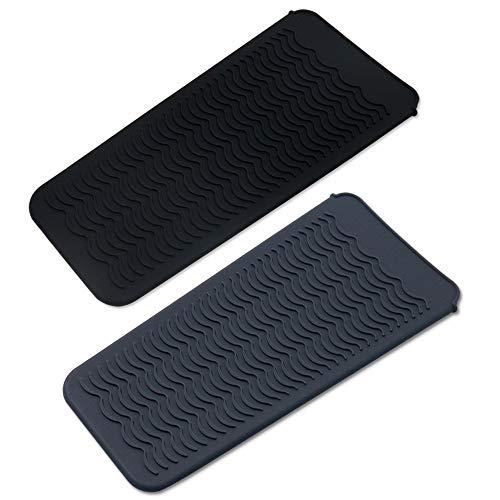 Paquete de 2 bolsas de silicona resistente al calor, alfombrilla de calor portátil, cubierta de almohadilla de rizador, plancha de pelo,...
