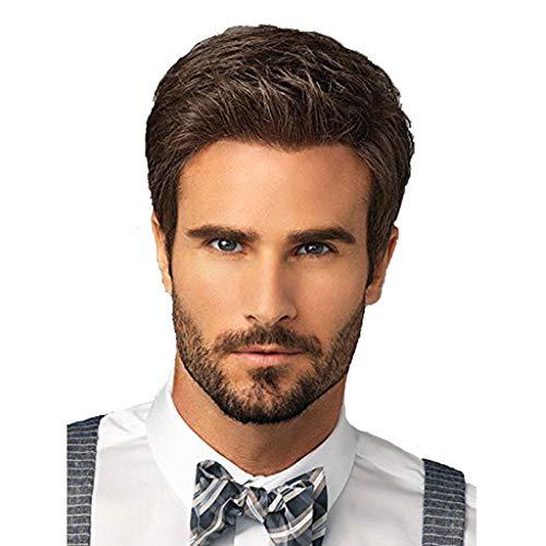 WJW-wig Peluca- Peluca para Hombre, Peluca Natural Natural Pelo Corto De Brown De La Moda