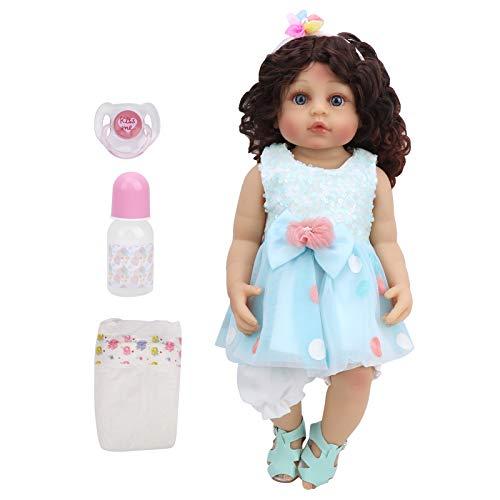 XINL Muñeca de Pelo Rizado, muñeca de Juguete de 55 cm, muñeca Suave de Regalo, Vestido Azul de Princesa para niñas