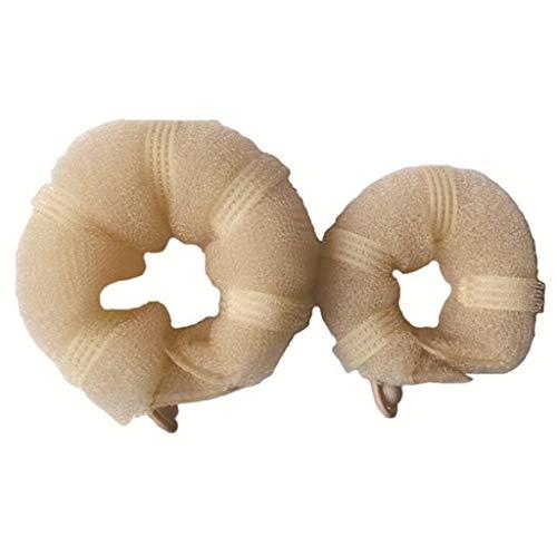 GREEN&RARE 2 anillos para hacer moños mágicos con clip de botón, vendimia, rizador de pelo elástico, elegante, accesorios de...