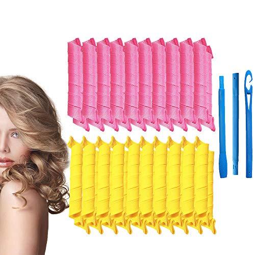 Kit de peinado de rizos en espiral Juego de 40 Hair Curlers de 55 cm rizadores de pelo sin calor y 3 ganchos de peinado para cabello extra...