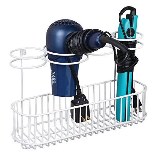 mDesign Soporte de pared para secador de pelo – Práctico estante de baño con 4 divisiones para artículos de peluquería y 1 cesta –...