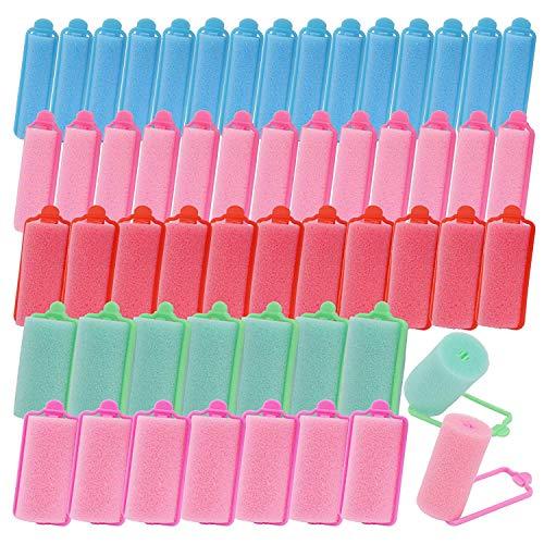 50 piezas de esponja de espuma rulos rizadores para el cabello rulos para cabello mediano largo grande mediano pequeño 5 tamaños rulos...