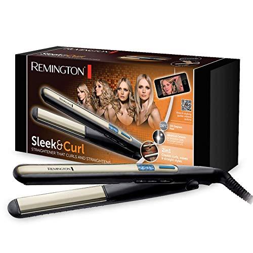 Remington S6500 Sleek & Curl - Plancha de Pelo, Cerámica Avanzada, Digital, Placas Estrechas Extra Largas, Negro y Dorado