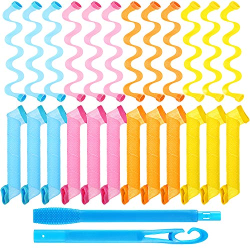 Kit de Rizadores de Cabello en Espiral de 24 Piezas, Rizadores de Pelo sin Calor Rulos en Espiral Rulos de Estilo de Onda con Ganchos de...