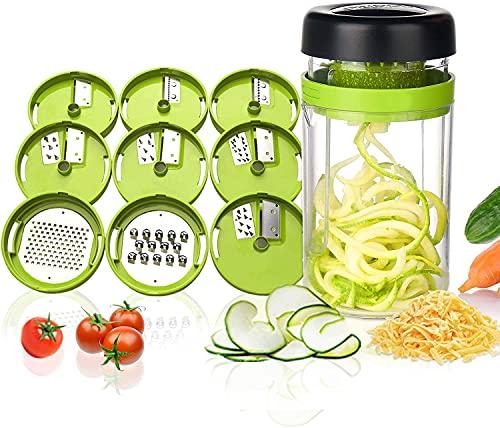 Adoric Cortador de Verdura 9 en 1 Rallador de Verduras Calabacin Pasta Espiralizador Vegetal Veggetti Slicer Pepino, Espaguetis de...