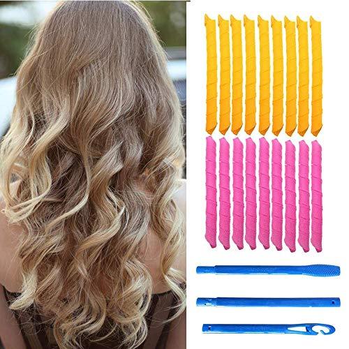 Juego de 21 rizadores de pelo mágicos, 18 rizadores de pelo sin calor y 3 ganchos de peinado, pelo extra largo de hasta 55 cm de largo,...