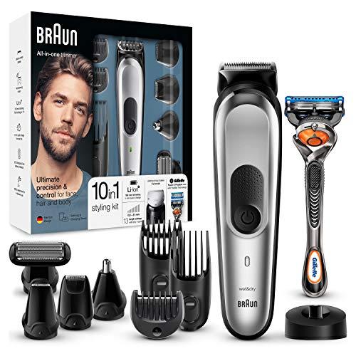 Braun MGK7020 10 en 1, Máquina recortadora barba y cortapelos todo en uno con afeitadora cuerpo, nariz y orejas, afeitadora mini, detalles,...