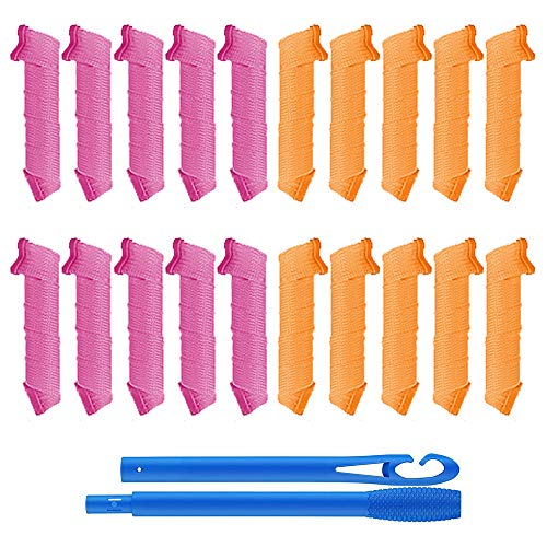 20 Piezas 45cm Rizos Sin Calor, ZoneYan Rulos Magicos, 2 Colores Rulos para Rizar Pelo Largo, Rizadores de Pelo Flexibles, Rizos Espirales...