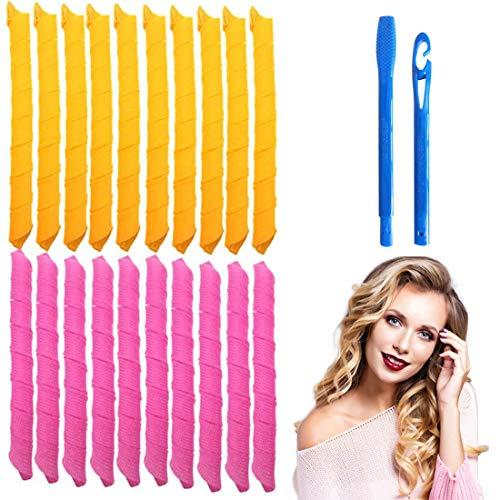 Juego de 30 rizadores de pelo mágicos en espiral y 2 ganchos de peinado, Magic Hair Curlers Spiral Curls Styling Kit, rizadores de pelo sin...