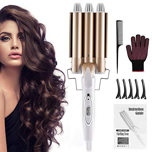 DazSpirit Rizador Pelo 3 Barriles de 22 mm, Pinzas Rizadoras Tenazas para Rizar el Pelo Curling Hair con Artilugios de Peluquería