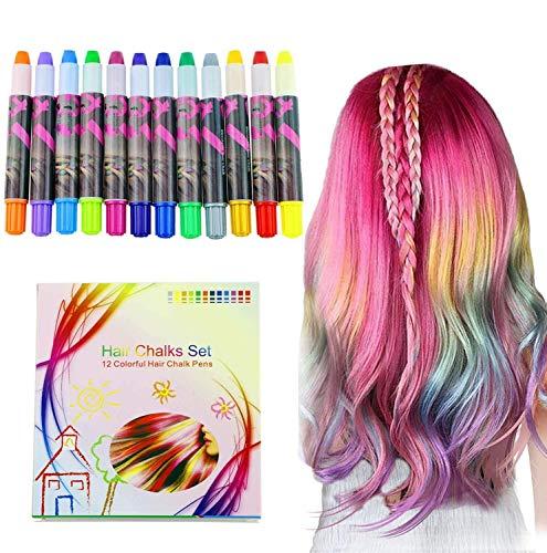 halloween Buluri 12 colores Set de tiza para el cabello,Tinte para el cabello plumas de tiza profesionales para el cabello, plumas de tinte...