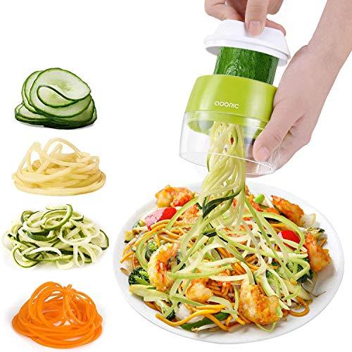 Adoric Cortador de Verdura 4 en 1 Rallador de Verduras Calabacin Pasta Espiralizador Vegetal Veggetti Slicer Pepino, Espaguetis de...